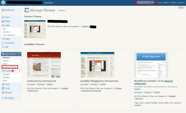 managing wordpress themes