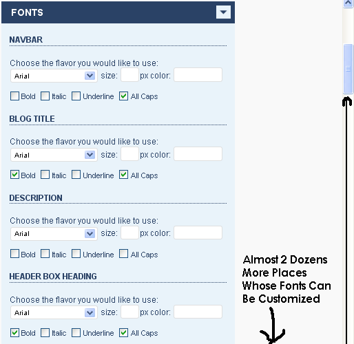 Ultimate Blogging Theme fonts changer